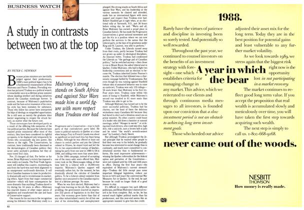 Article Preview: A study in contrasts between two at the top, December 1988 | Maclean's