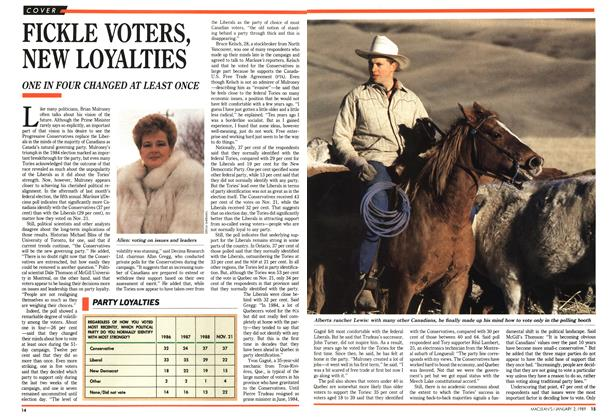 Article Preview: FICKLE VOTERS, NEW LOYALTIES, January 1989 | Maclean's