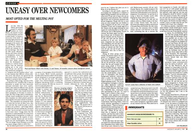 Article Preview: UNEASY OVER NEWCOMERS, January 1989 | Maclean's