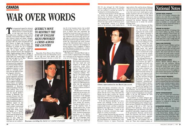 Article Preview: WAR OVER WORDS, January 1989 | Maclean's