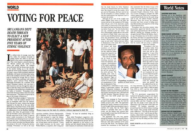 Article Preview: VOTING FOR PEACE, January 1989 | Maclean's