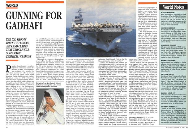 Article Preview: GUNNING FOR GADHAFI, January 1989 | Maclean's