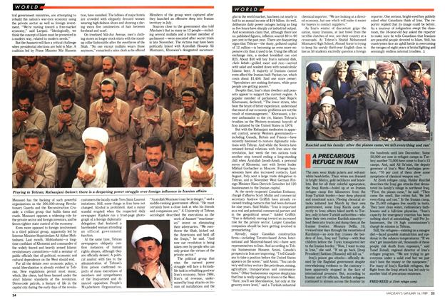 Article Preview: A PRECARIOUS REFUGE IN IRAN, January 1989 | Maclean's