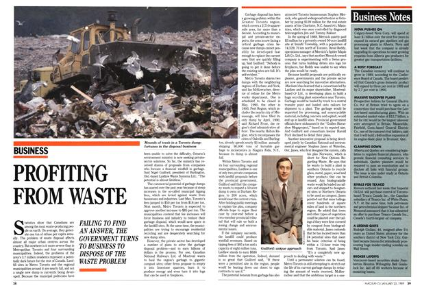 Article Preview: PROFITING FROM WASTE, January 1989 | Maclean's