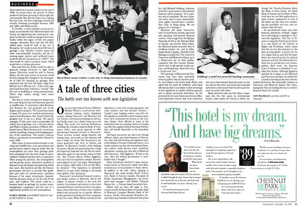 Article Preview: A tale of three cities, January 1989 | Maclean's