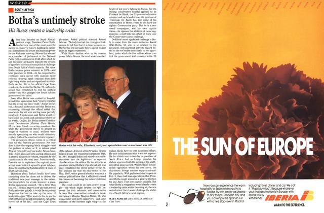 Article Preview: Botha's untimely stroke, January 1989 | Maclean's