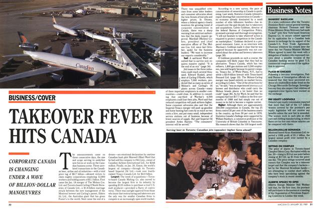 Article Preview: TAKEOVER FEVER HITS CANADA, January 1989 | Maclean's