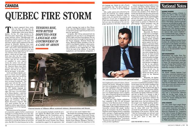 Article Preview: QUEBEC FIRE STORM, February 1989 | Maclean's