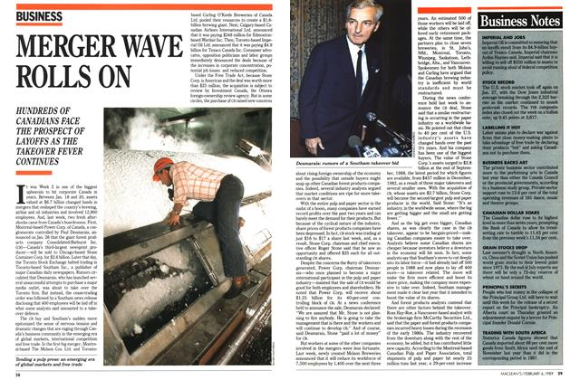 Article Preview: MERGER WAVE ROLLS ON, February 1989 | Maclean's