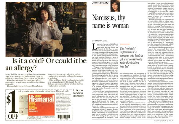 Article Preview: Narcissus, thy name is woman, February 1989 | Maclean's