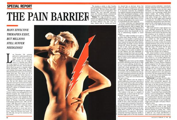 Article Preview: THE PAIN BARRIER, February 1989 | Maclean's