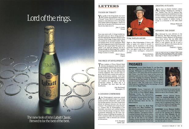 Article Preview: LETTERS, February 1989 | Maclean's