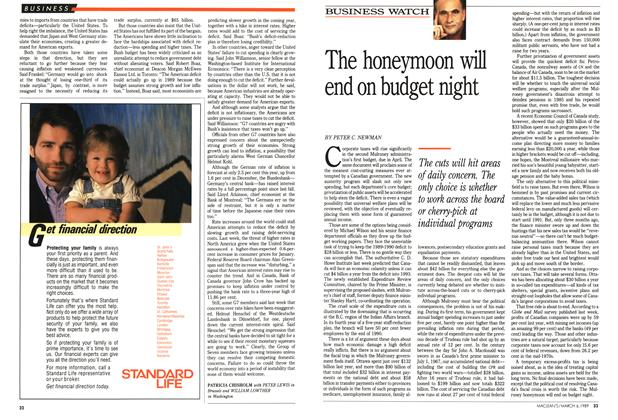 Article Preview: The honeymoon will end on budget night, March 1989 | Maclean's