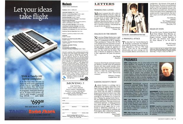 Article Preview: LETTERS, March 1989 | Maclean's
