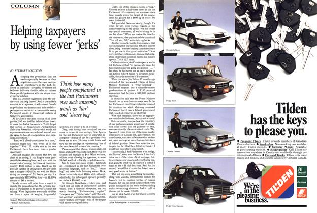 Article Preview: Helping taxpayers by using fewer 'jerks', March 1989 | Maclean's