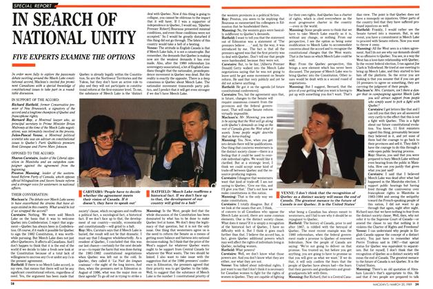 Article Preview: IN SEARCH OF NATIONAL UNITY, March 1989 | Maclean's