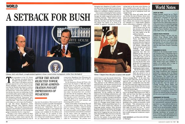 Article Preview: A SETBACK FOR BUSH, March 1989 | Maclean's