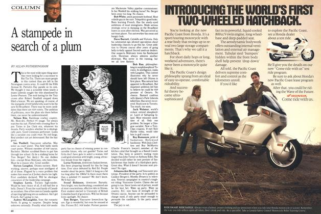 Article Preview: A stampede in search of a plum, March 1989 | Maclean's