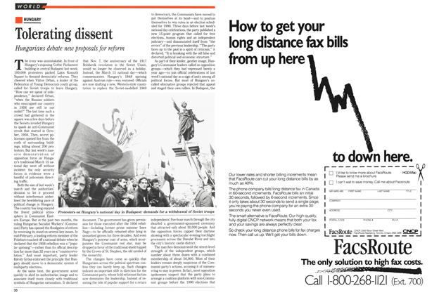 Article Preview: Tolerating dissent, March 1989 | Maclean's