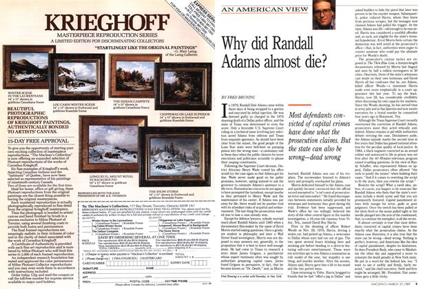 Article Preview: Why did Randall Adams almost die?, March 1989 | Maclean's