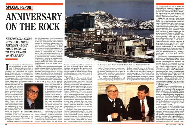 Article Preview: ANNIVERSARY ON THE ROCK, April 1989 | Maclean's