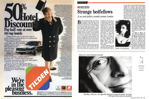 Article Preview: Strange bedfellows, April 1989 | Maclean's