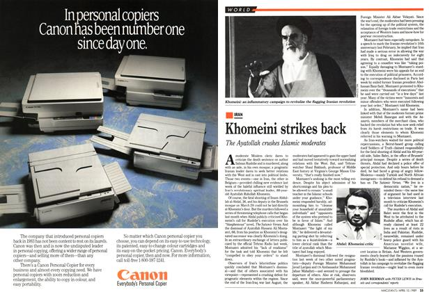Article Preview: Khomeini strikes back, April 1989 | Maclean's