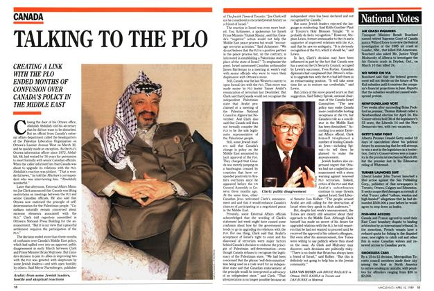 Article Preview: TALKING TO THE PLO, April 1989 | Maclean's