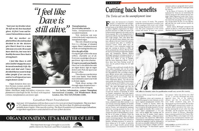 Article Preview: Cutting back benefits, April 1989 | Maclean's