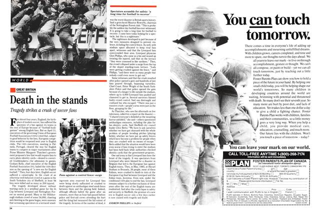 Article Preview: Death in the stands, April 1989 | Maclean's