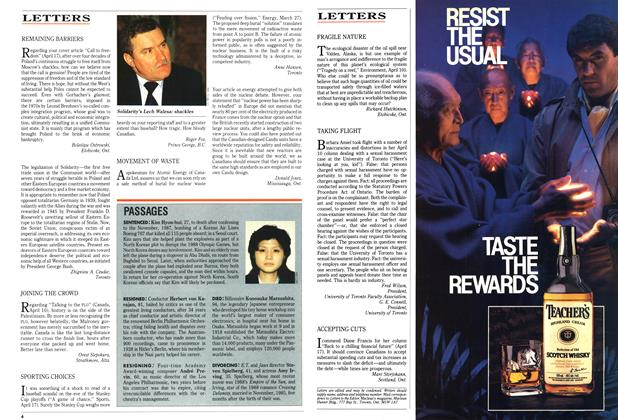 Article Preview: LETTERS, May 1989 | Maclean's