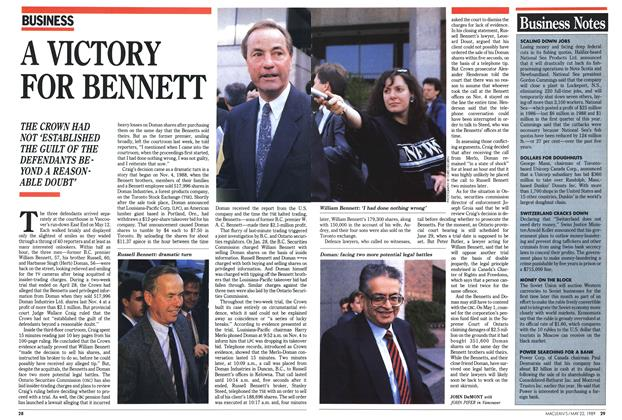 Article Preview: A VICTORY FOR BENNETT, May 1989 | Maclean's