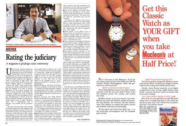 Article Preview: Rating the judiciary, May 1989 | Maclean's
