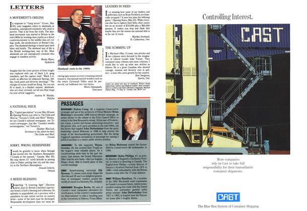 Article Preview: LETTERS, June 1989 | Maclean's