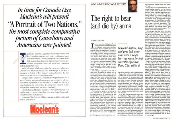 Article Preview: The right to bear (and die by) arms, June 1989 | Maclean's