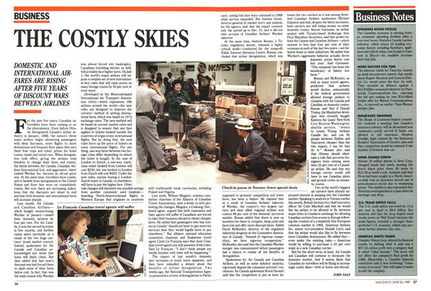 Article Preview: THE COSTLY SKIES, June 1989 | Maclean's
