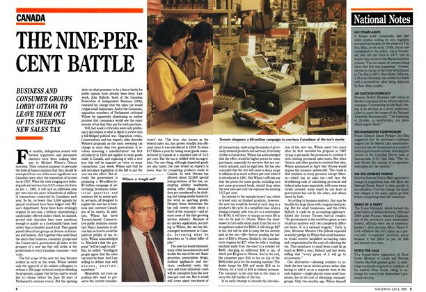 Article Preview: THE NINE-PERCENT BATTLE, July 1989 | Maclean's