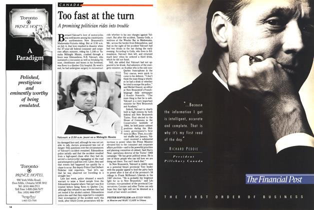 Article Preview: Too fast at the turn, July 1989 | Maclean's