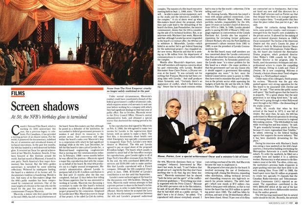 Article Preview: Screen shadows, July 1989 | Maclean's