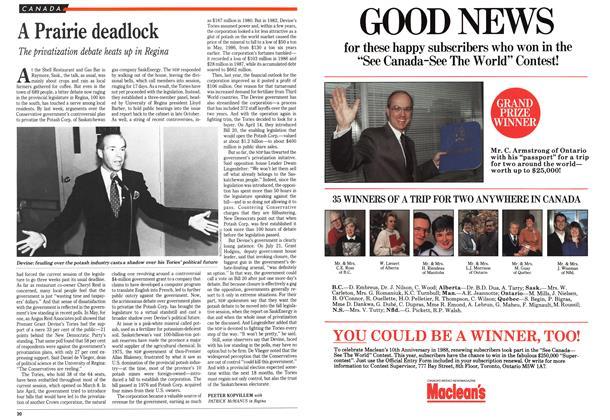 Article Preview: A Prairie deadlock, August 1989 | Maclean's