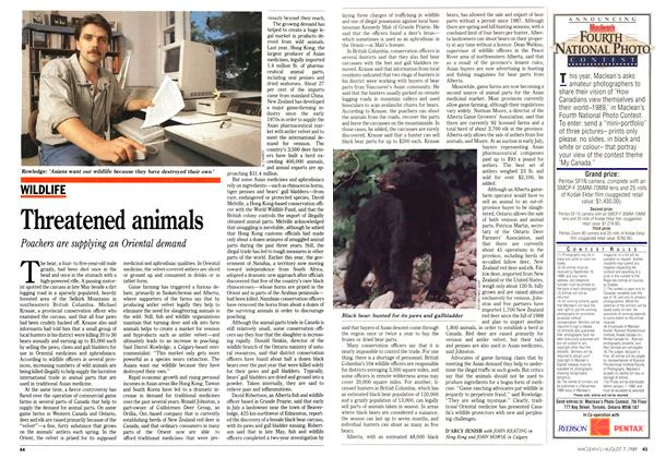 Article Preview: Threatened animals, August 1989 | Maclean's