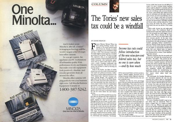 Article Preview: The Tories' new sales tax could be a windfall, August 1989 | Maclean's