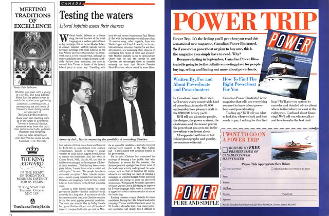 Article Preview: Testing the waters, August 1989 | Maclean's
