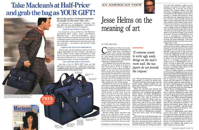 Article Preview: Jesse Helms on the meaning of art, August 1989 | Maclean's