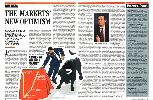 Article Preview: THE MARKETS' NEW OPTIMISM, August 1989 | Maclean's