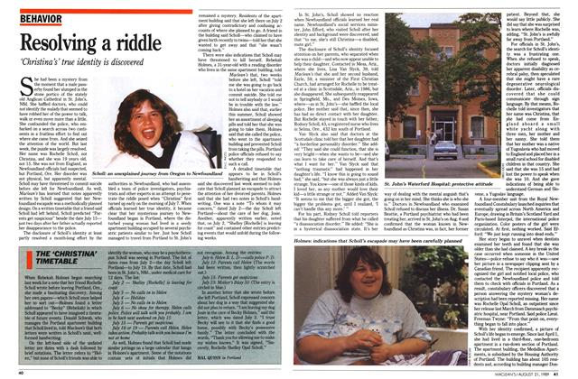 Article Preview: THE 'CHRISTINA' TIMETABLE, August 1989 | Maclean's
