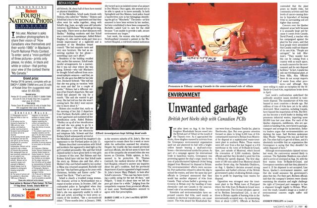 Article Preview: Unwanted garbage, August 1989 | Maclean's