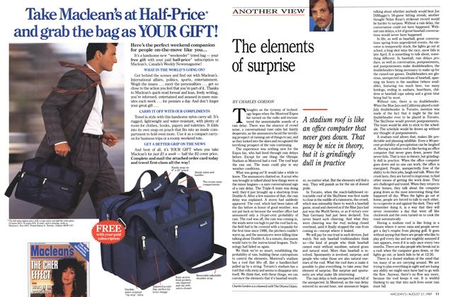 Article Preview: The elements of surprise, August 1989 | Maclean's
