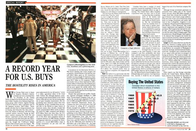 Article Preview: A RECORD YEAR FOR U.S. BUYS, August 1989 | Maclean's