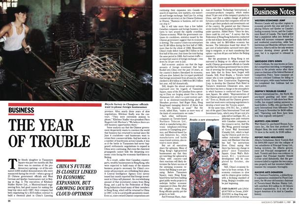 Article Preview: THE YEAR OF TROUBLE, September 1989 | Maclean's